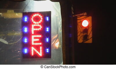 OPEN sign and Traffic Light. - OPEN sign made from...
