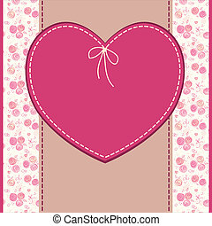 Vector greeting, wedding or birthday card with flowers and heart