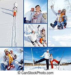 Skiers in park - Collage of happy mature couple on winter...