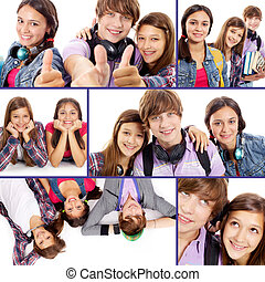 Modern teens - Collage of cute teens on white background