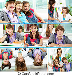 Teenage friends - Collage of cute teens in classroom and...