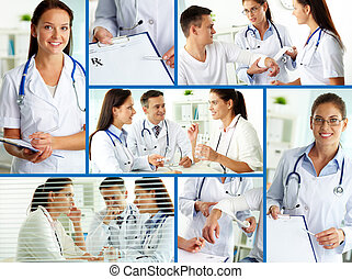 Medical care - Collage of practitioners and patients in...