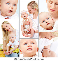 Mother and baby - Collage of happy woman and her small...