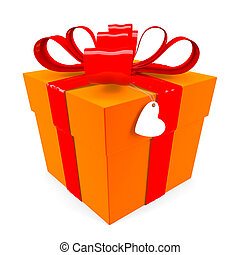 Orange Gift box with red ribbon bow & heart tag