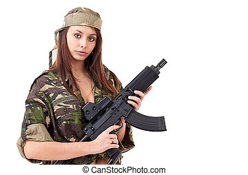 Young woman soldiers with guns