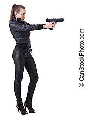 mulher, segurando, armas