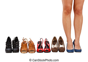 woman buy shoes concept of choice and shopping, isolated on...