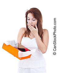 Woman surprised with shoes