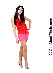Woman posing in short skirt - Beautiful woman posing in...