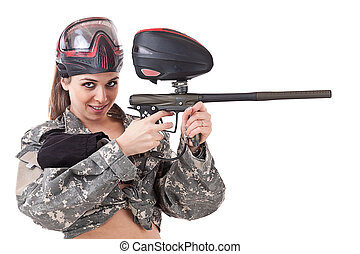 Paintball girl, isolated on white background