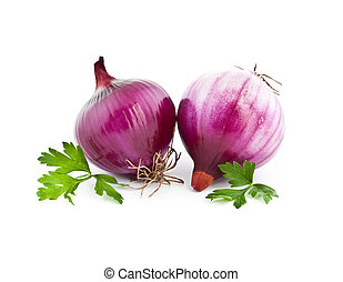 Red onion and fresh parsley still life isolated on white...
