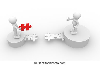 Jigsaw - 3d people - human character, person and last piece...
