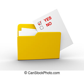 Folder - Check-box yes or no and a folder. 3d render...
