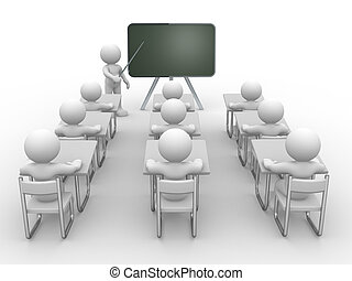 Blackboard - 3d people - human character , person with...