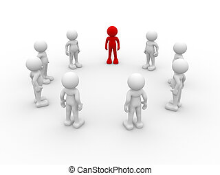 Teamwork - 3d people - human character , person in circle, a...