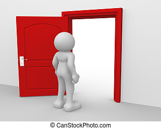 Open door - 3d people - human character , person and a open...