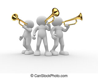 Trumpet - 3d people - human character , person with a...
