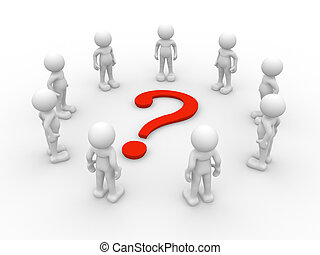 Question mark - 3d people - human character , person in...