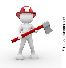 Fireman - 3d people - human character , person - fireman and...