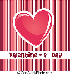 Love background - Pink valentines day heart on striped...
