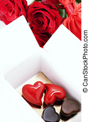 red roses and hearts for Valentine's Day