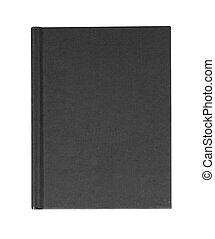 black hardback casebound book isolated on a white background