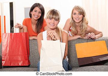 朋友, 購物, 袋子