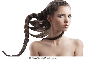 beauty girl with creative braid - portrait of a pretty long...