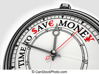 time to save money concept clock closeup on white background...
