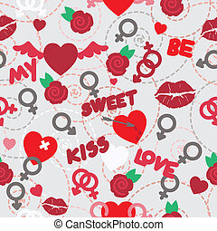 valentine seamless pattern wallpaper with hearts, flowers...