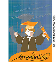 Graduation congratulation celebration card or banner with...