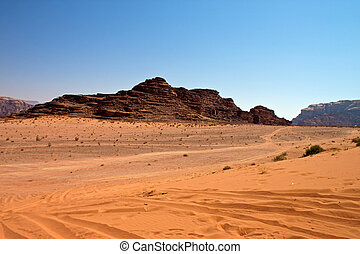 Desert of Wadi Rum - View of the desert of Wadi Rum in...