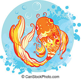 Goldfish illustration - Goldfish decorative illustration...