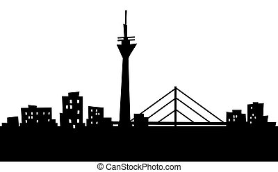 Cartoon Dusseldorf - Cartoon skyline silhouette of the city...