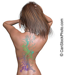 Woman with Chinese Dragon Tattoo - Womans back with brightly...