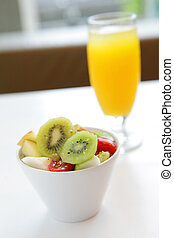 delicious breakfast include fruit and orange juice, good for...