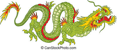 Green Dragon - Illustration of green dragon in the Asian...