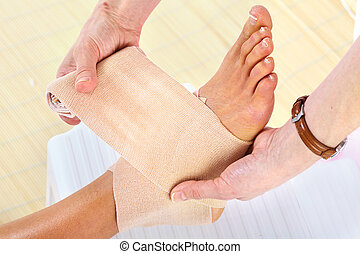 Bandage - Bandage and hurted leg Health care
