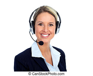 Call customer center operator woman. Isolated over white...