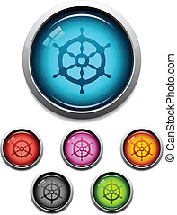 Ship wheel button icon - Glossy ship wheel button icon set...