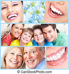 Happy people smile. - Smiling happy people with healthy...