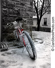 Sideways Icicles - Red bicycle with icicles that have formed...