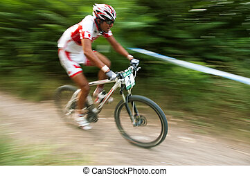 Sportsman's, white, bike, motion, photo