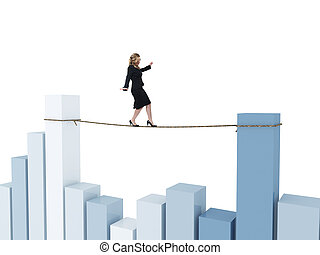 financial acrobat - young woman on 3d rope and financial...