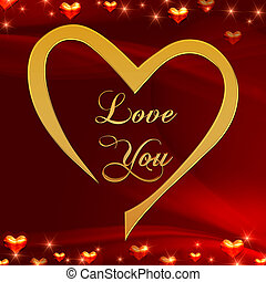 love you in golden heart in red - text love you in golden...