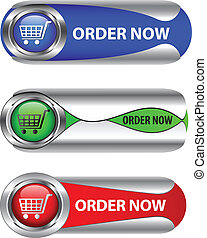 Metallic order now button/icon set for web applications....
