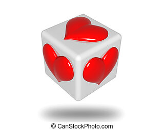 die with hearts - 3d grey die with red hearts isolated
