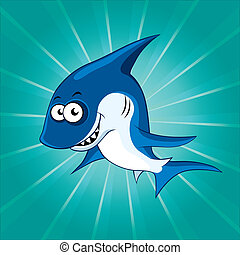 Funny shark on the blue background
