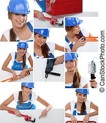 Photomontage of handywoman