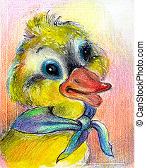 The drawn duckling - The fantastic duckling drawn on a paper